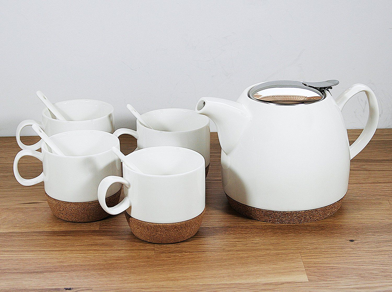 Tea Branch Hailey Ceramic Tea Set For 4, Modern Teapot