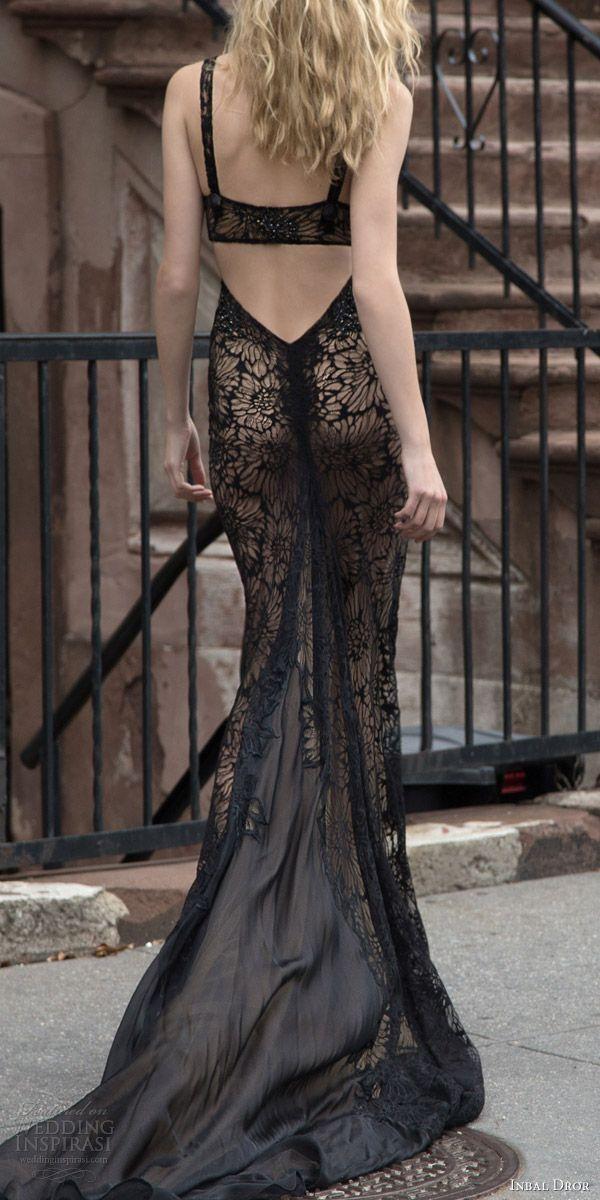 inbal dror 2016 sleeveless strap v neck sheath trumpet black color wedding dress style 30 bkv mid strap keyhole train