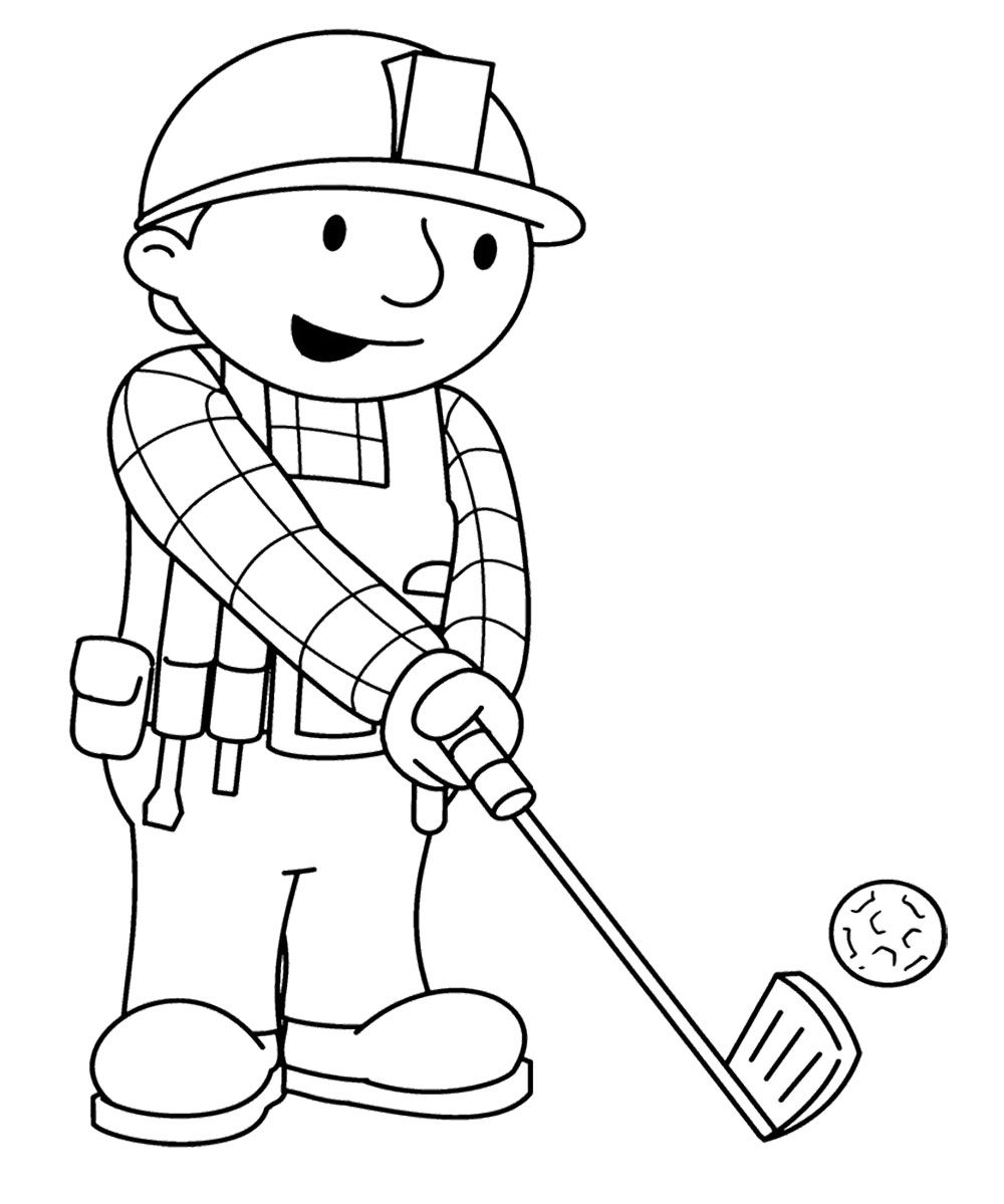 Bob The Builder Palying Golf Coloring Page Cartoon Coloring Pages Coloring Pages Coloring Pages For Kids