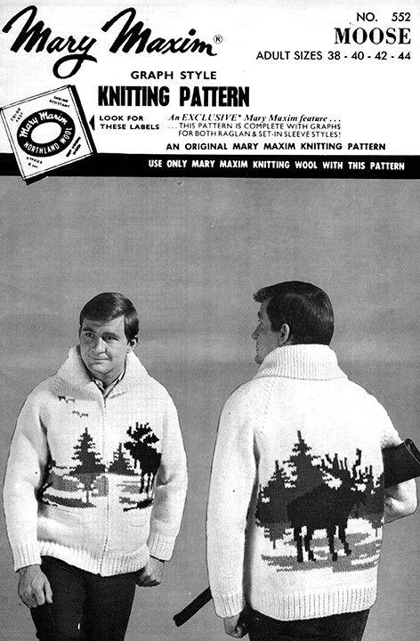 Moose Cardigan Pattern   Vintage patterns   Knit cardigan pattern