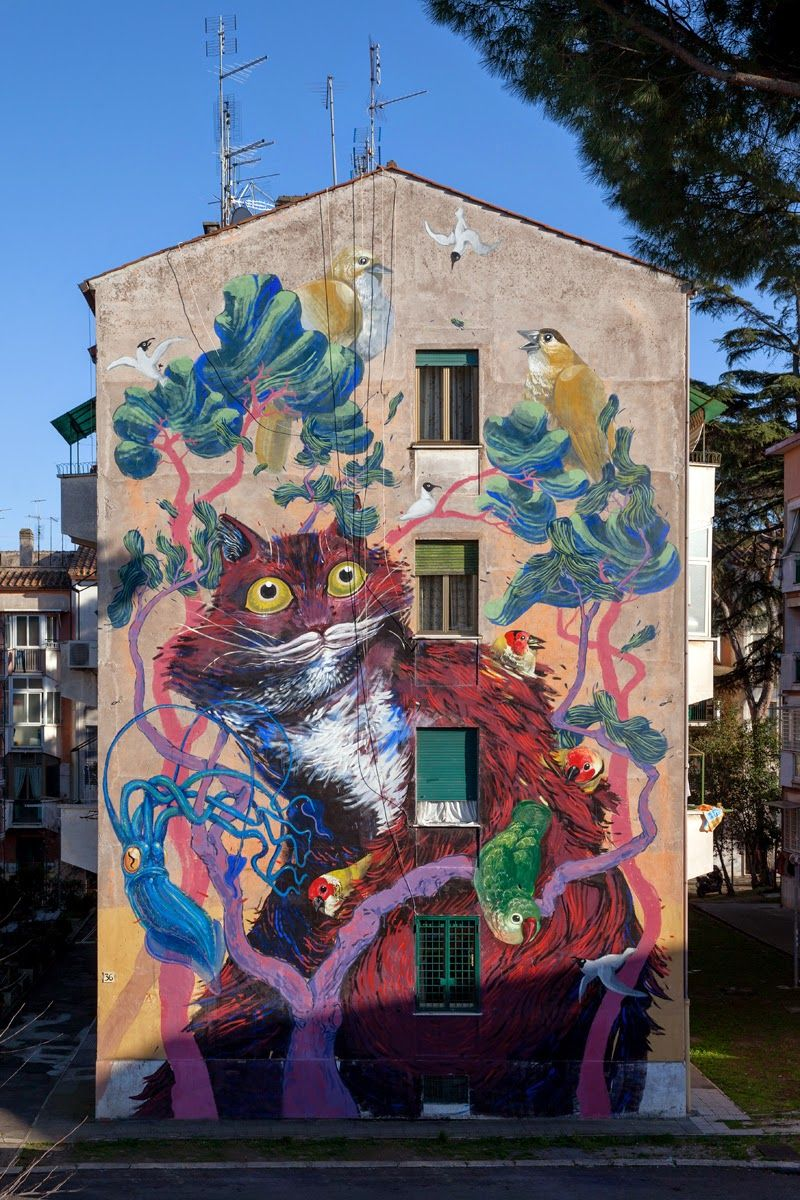 Hitnes creates a series of new murals in Rome, Italy