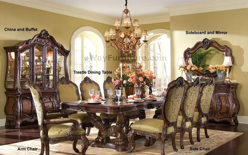 French Rococo Trestle Dining Room Table Set