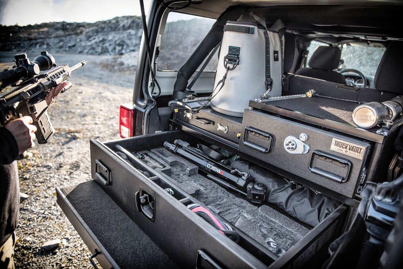 Truck Vaults Secure Storage on the Trail Jeep wrangler