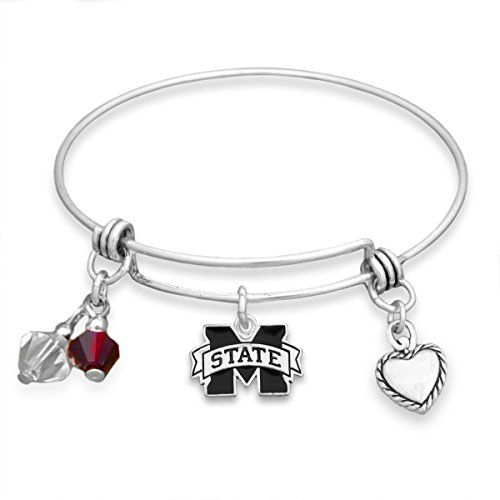 FTH Ohio State Buckeyes Logo and Heart Shaped Charm Bracelet Featuring Team Slogan