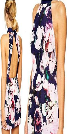 Sexy Backless Crossover Halter Floral Print Dress #popular