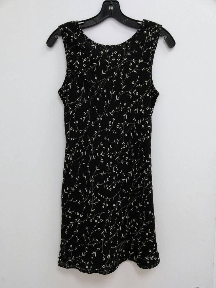 6988aee34d6d2 City Triangles Junior Size 7 Black w Cream Flowers Sleeveless Dress B255   CityTriangles