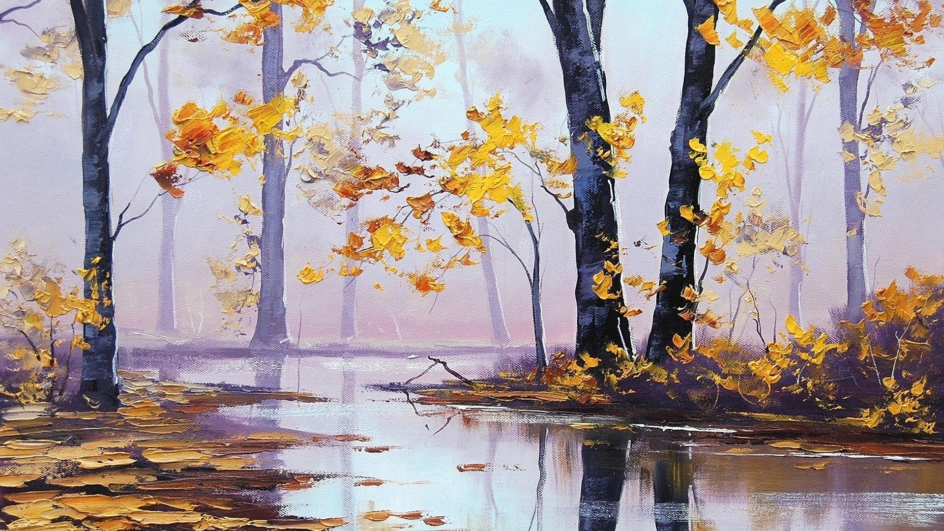 oil paintings 1920x1080 Autumn Scenery Oil Painting