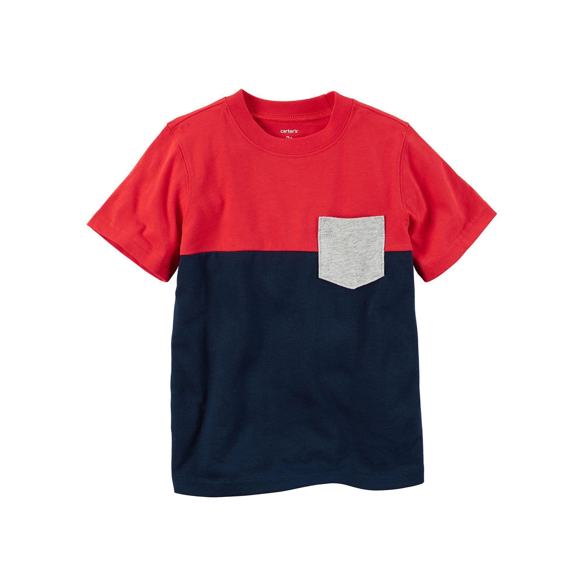 Carter s Baby Boy Short Sleeve Red & Navy Colorblock Pocket Tee