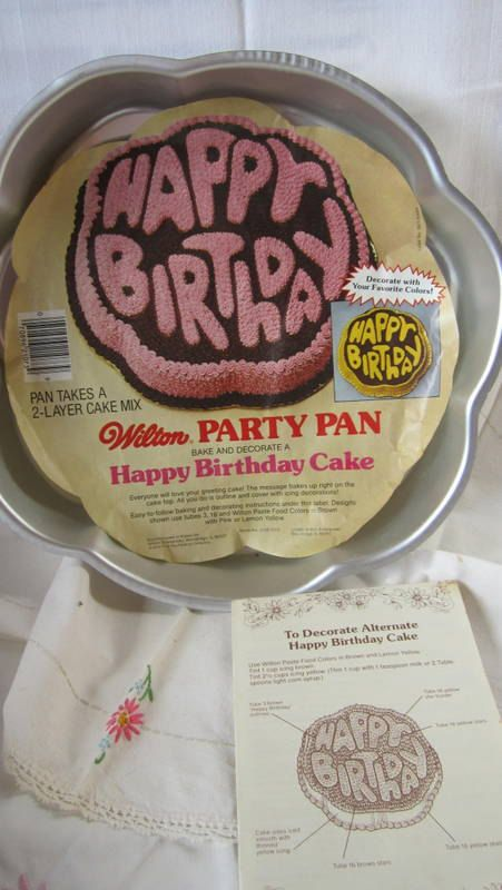 Vintage Wilton Happy Birthday Cake Pan With Insert And Instructions From 1980 You Can Make A Special
