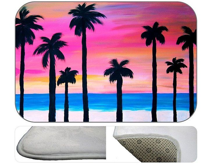 Palm Tree Bath Mat: If you want to add a tropical touch to your bathroom without the total effect from a large shower curtain, get this supersoft plush bath mat ($43).