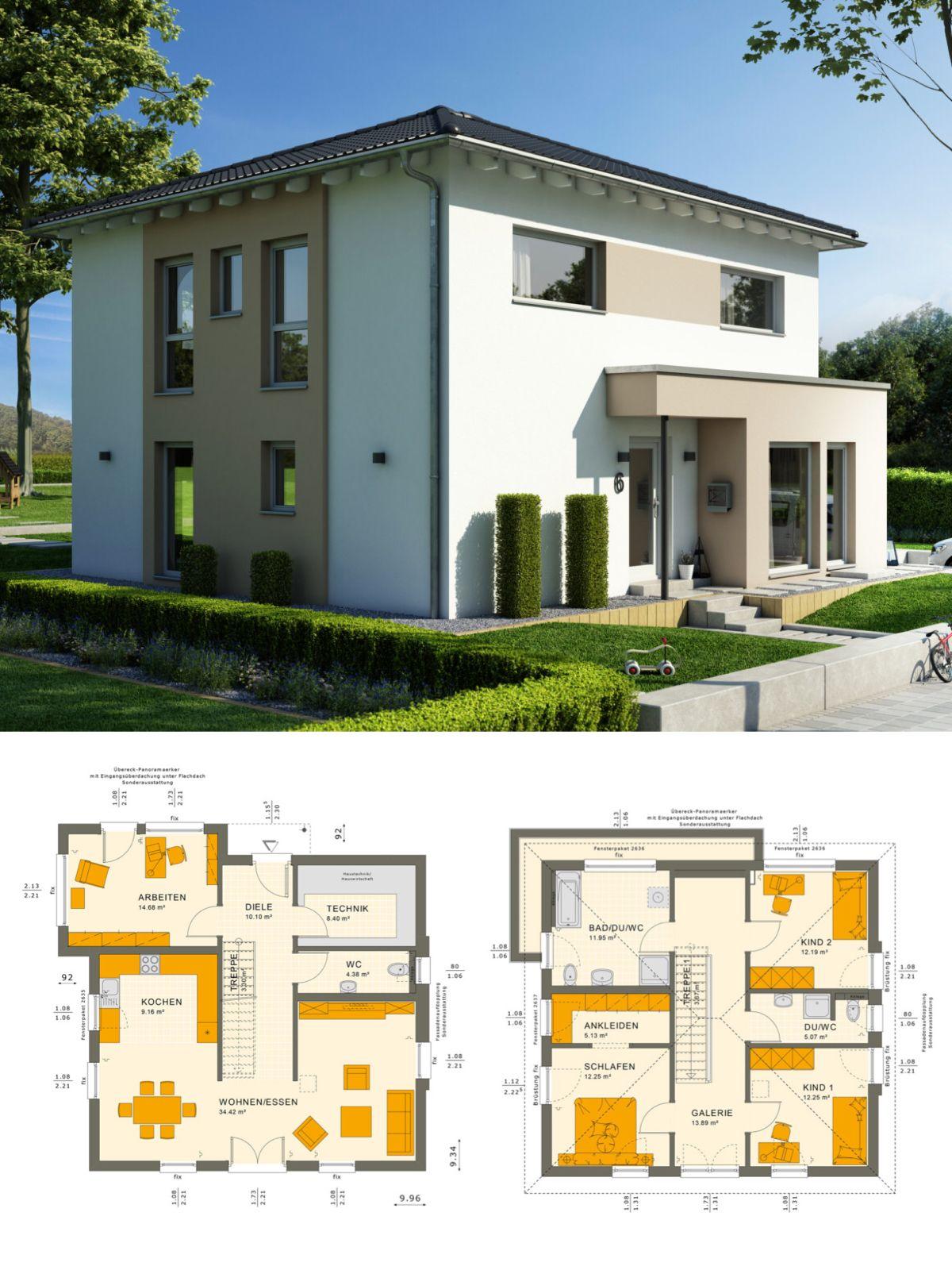 Modernes einfamilienhaus mit galerie walmdach for Modernes einfamilienhaus grundriss