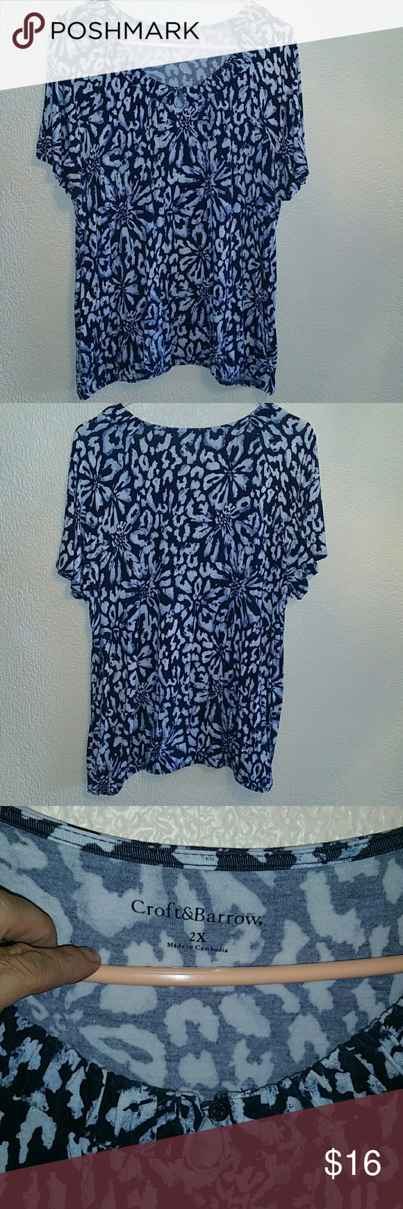 Croft n Borrow Shirt 95% rayon, 5% spandex. Light n soft shirt. Waist and neck are elastic,  arms are loose and flare. Can be worn with jeans or slacks. croft & barrow Tops Tees - Short Sleeve