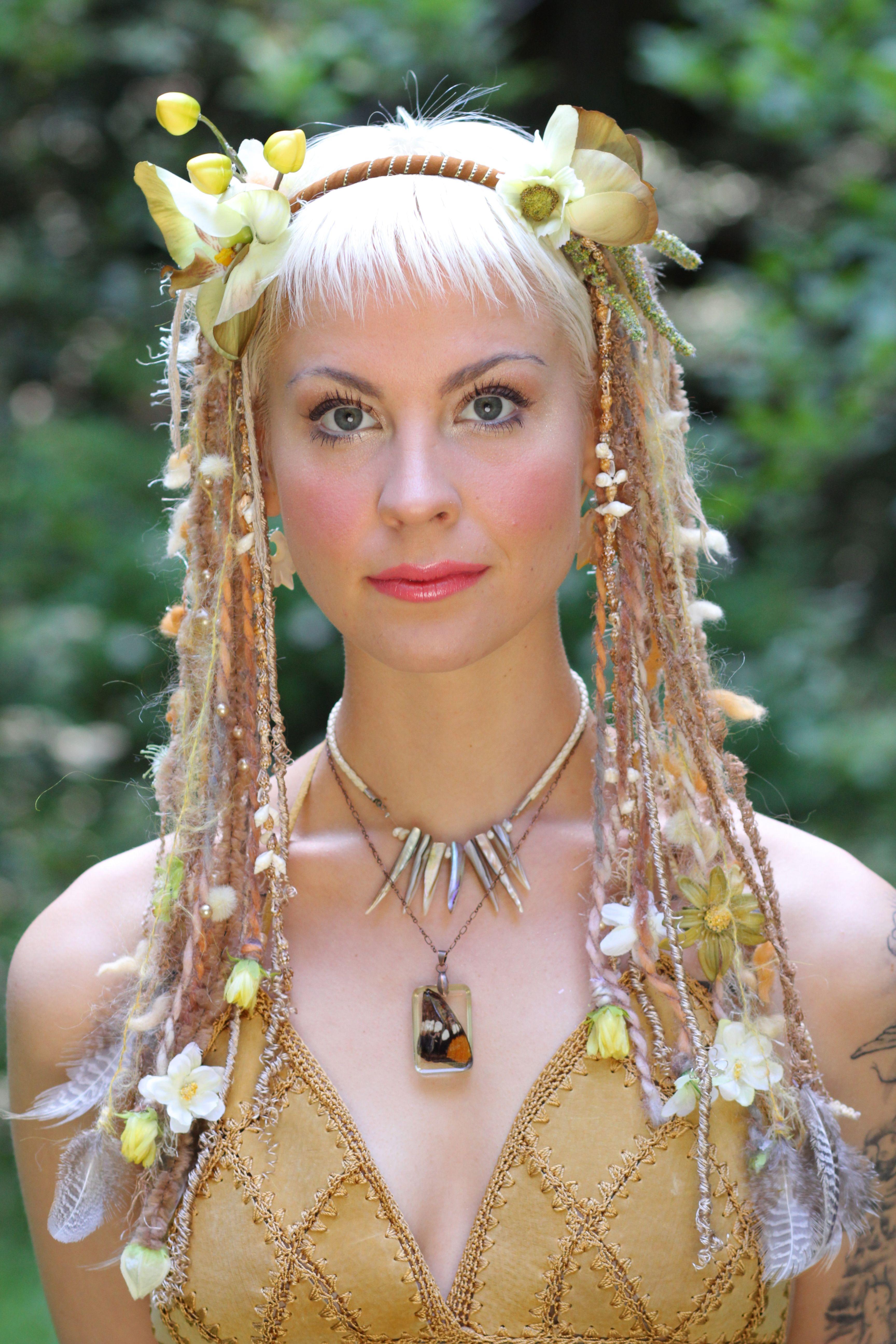 mother earth headdress dready wig goddess earthy faery woodland burningman flower headdress festival wear www.etsy.com/shop/lotuscircle