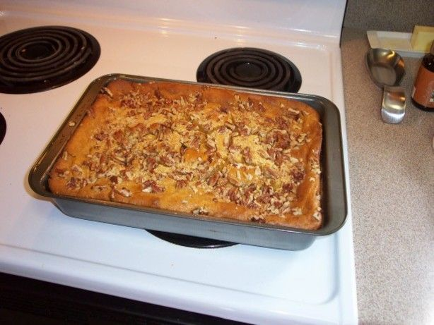 Got this recipe off the internet. Ive taken it to church a couple of times and everyone loved it. This is a good fall dessert.