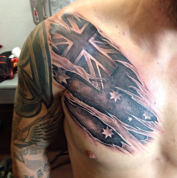 This Savage Looking Flag Tattoos Military Sleeve Tattoo Army