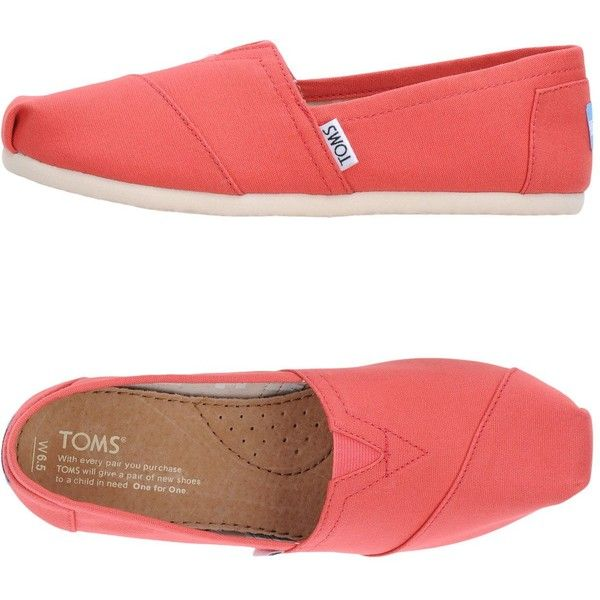 Toms Low-tops & Sneakers (150 BRL) ❤ liked on Polyvore featuring shoes, sneakers, coral, toms sneakers, low top, tom trainer, low profile shoes and toms shoes