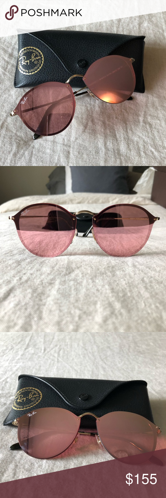 2fd9a22ac1 Ray-Ban Blaze Round Pink Mirror Sunglasses Flat-mirror-over-frame with