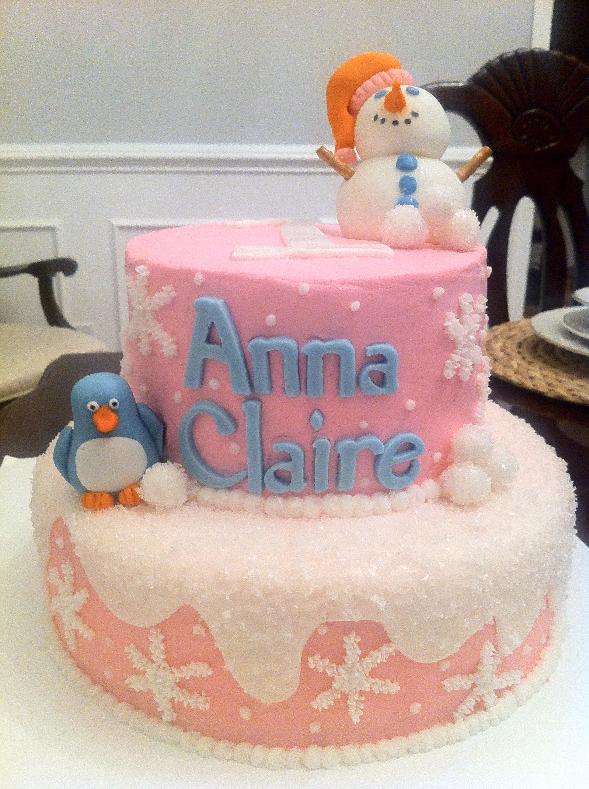 Winter Themed Birthday Cake Strawberry Cake With Buttercream Icing