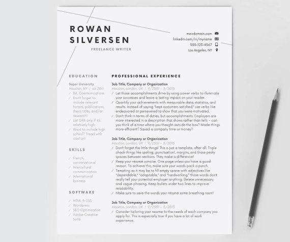 Resume Template, Modern Resume, Resume for Word, CV Template, Cover
