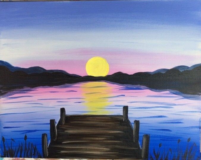 How To Paint A Sunset Lake Pier is part of Sunset painting, Lake painting, Lake sunset painting, Canvas painting tutorials, Step by step painting, Acrylic painting tutorials - How to paint a sunset over a lake and a rustic pier  This beginner acrylic painting tutorial will guide you through the steps