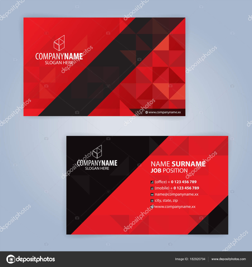 Download Red And Black Modern Business Card Template Illustration Vector 10 Stock Illus Modern Business Cards Business Card Design Black Business Card Red