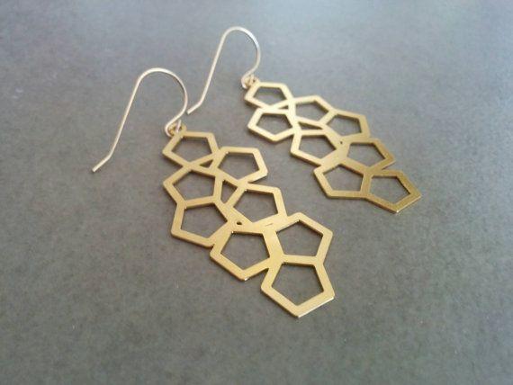 Geometric Earrings Gold Earrings Geometric Jewelry Gold Geometric Honeycomb Earrings Dangle Earrin Long Gold Earrings Geometric Earrings Geometric Jewelry