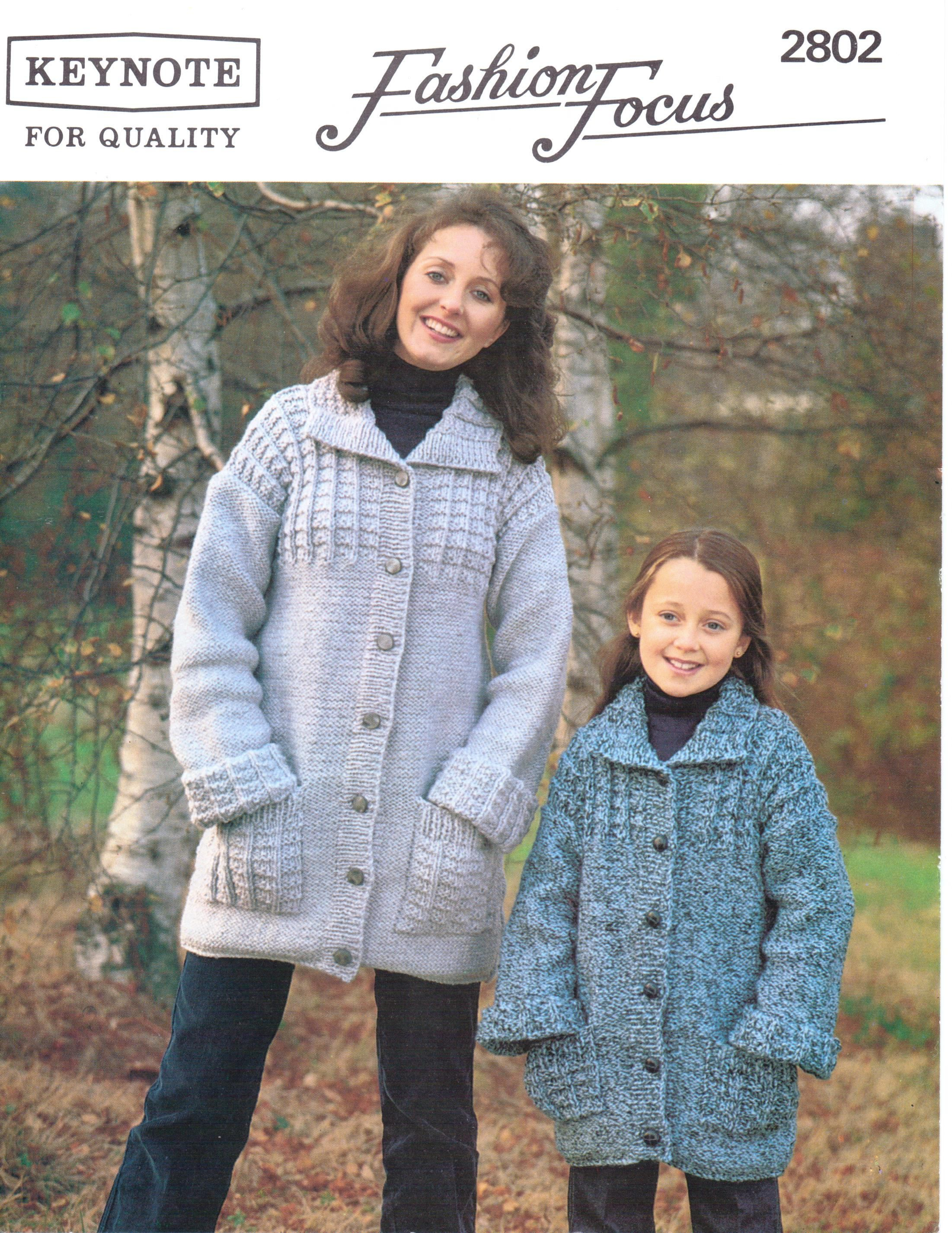Mother and Daughter Chunky Coat Jacket Knitting Pattern 24 - 42 ...