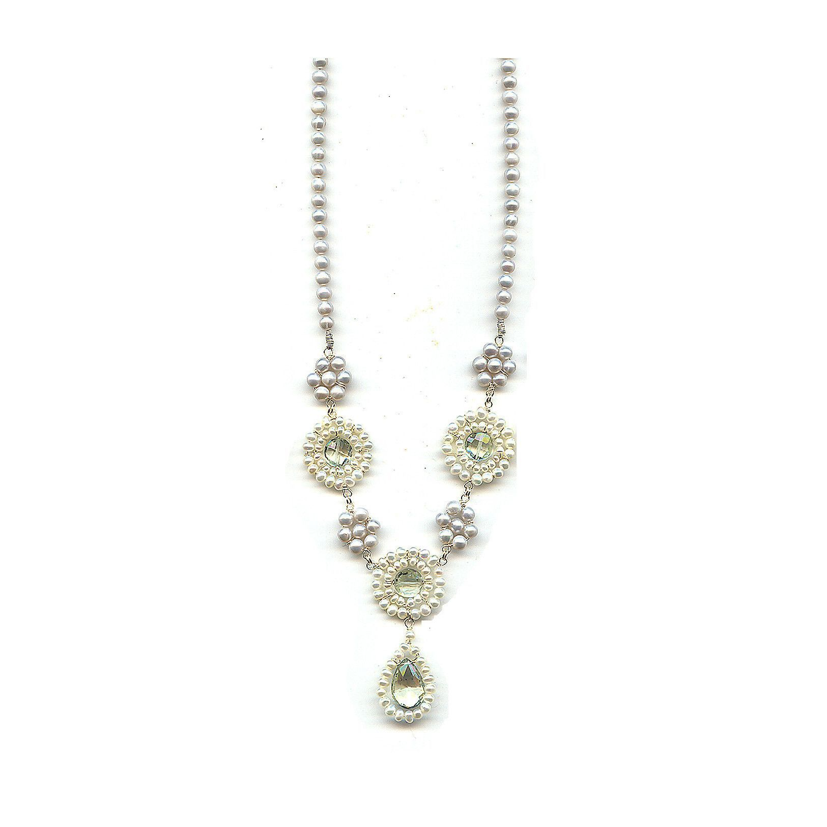 Michelle Pressler Necklace Green Amethyst and Pearl B11 Artistic