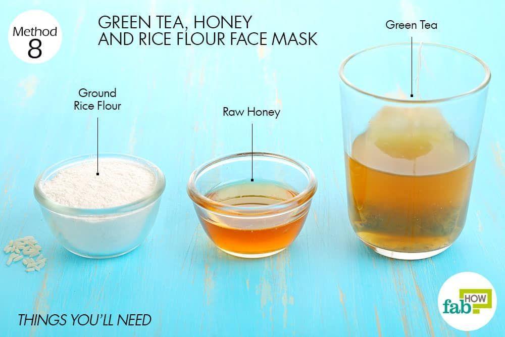Things you'll need to make green tea face mask to brighten skin #SkinRemediesBakingSoda