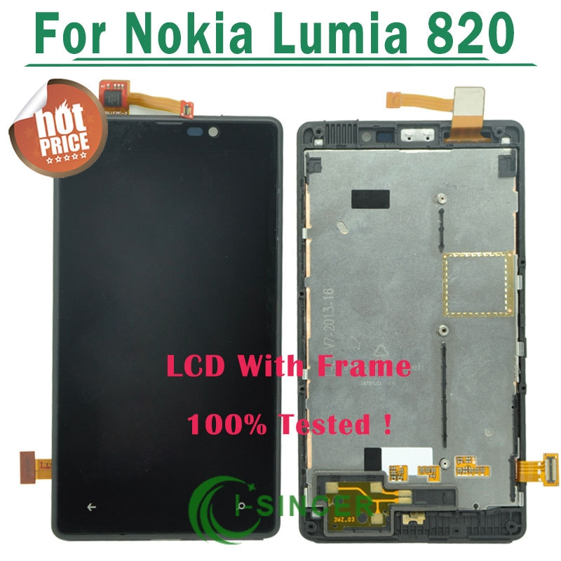 39.14$  Watch now - http://aikol.worlditems.win/all/product.php?id=1687493114 - 1/PCS Black frame For Nokia Lumia 820 LCD Display Screen Touch Digitizer With Frame Assembly Replacement Free shipping