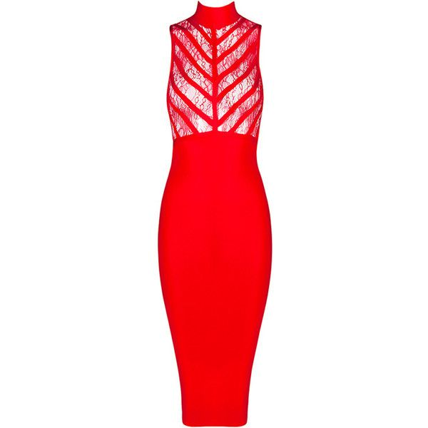 Honey couture red lace turtleneck bandage dress ($119) ❤ liked on ...