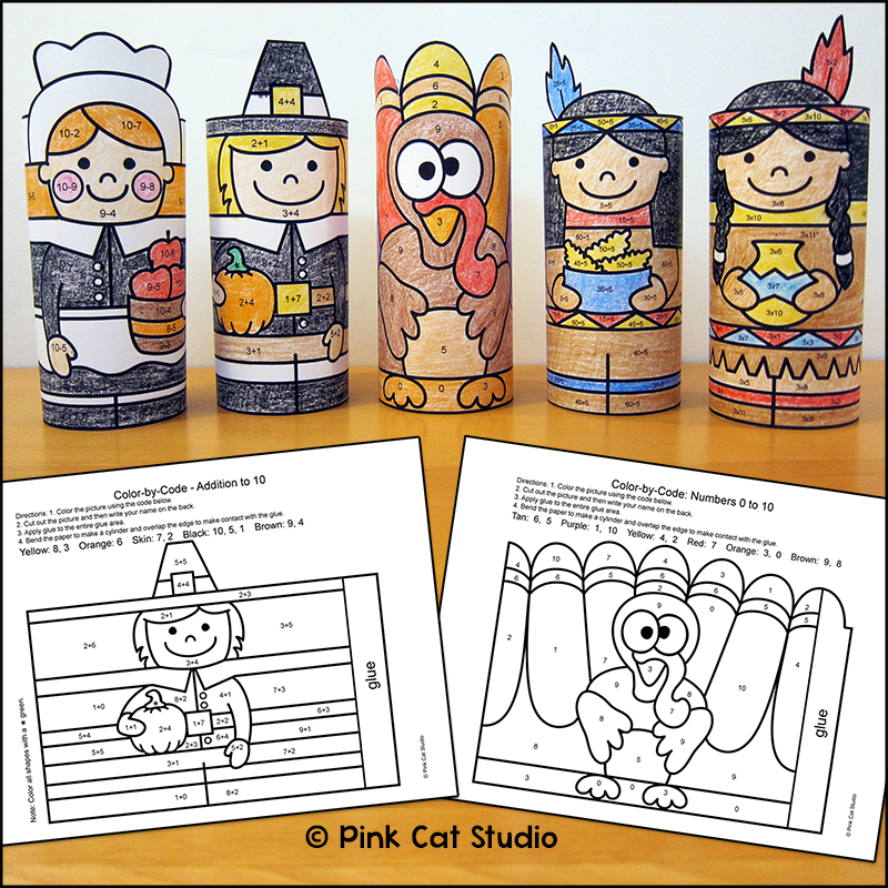Thanksgiving Math Color By Code 3d Characters Practice Number Matching Adding Subt Thanksgiving Math Thanksgiving Math Coloring Thanksgiving Math Activities