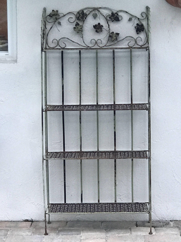 ANTIQUE Garden Shelf, Four Tier, Vintage Steel Shelf, Wrought Iron, Leaf  Grape