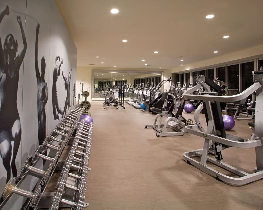 Fitness center wall graphic stayfitdfw gym interiors