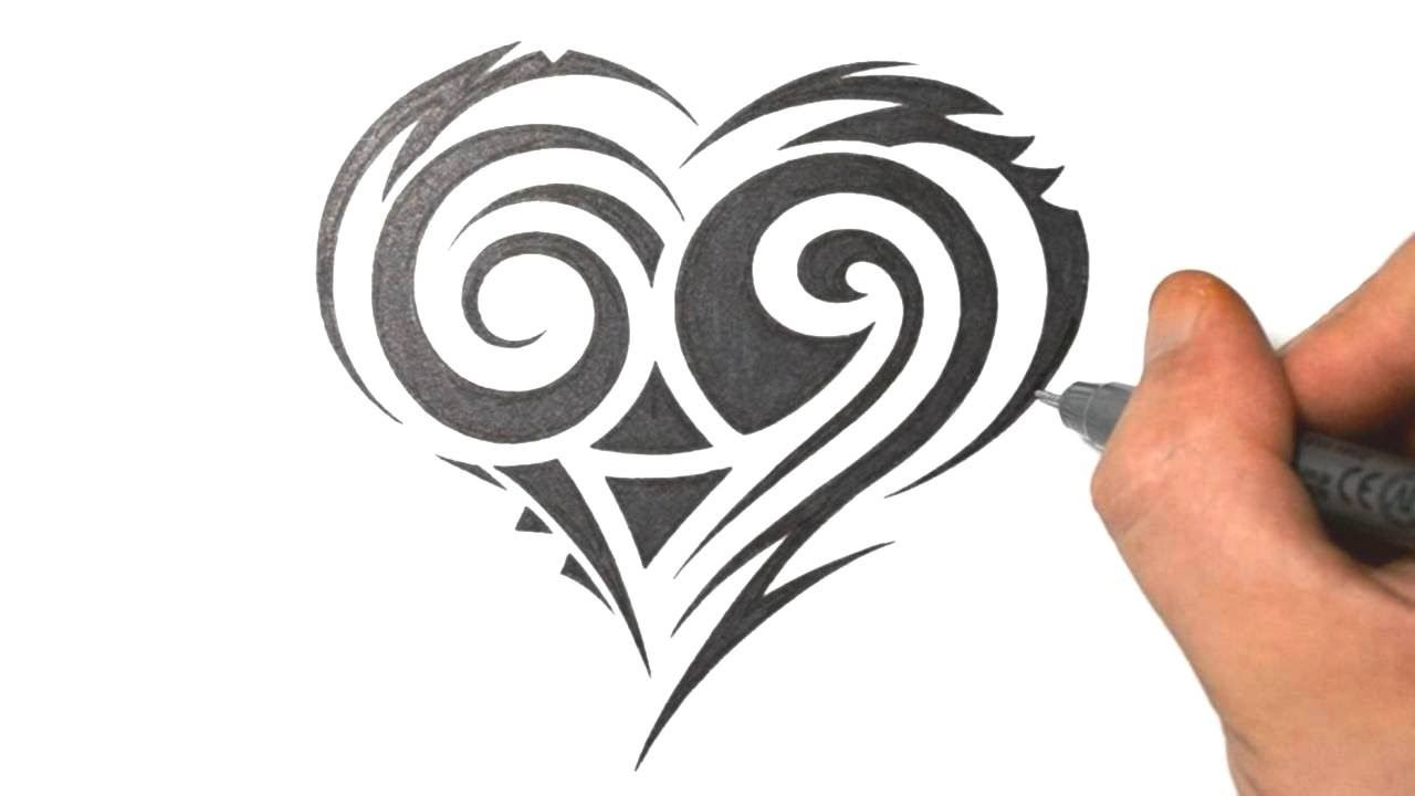 How To Draw A Cute Tribal Heart Tattoo Design Youtube Heart