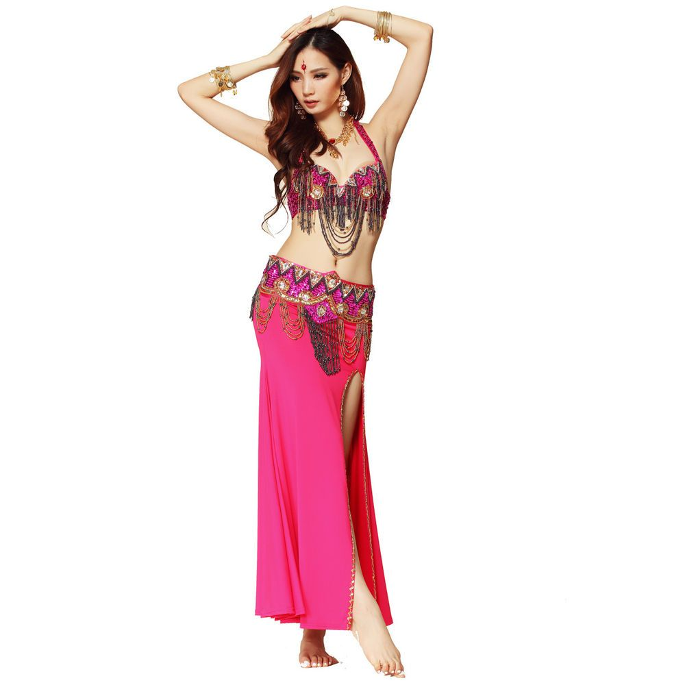 New Tribal Style Belly Dance Costume Outfit Set Bra Belt Carnival Bollywood 2PCS