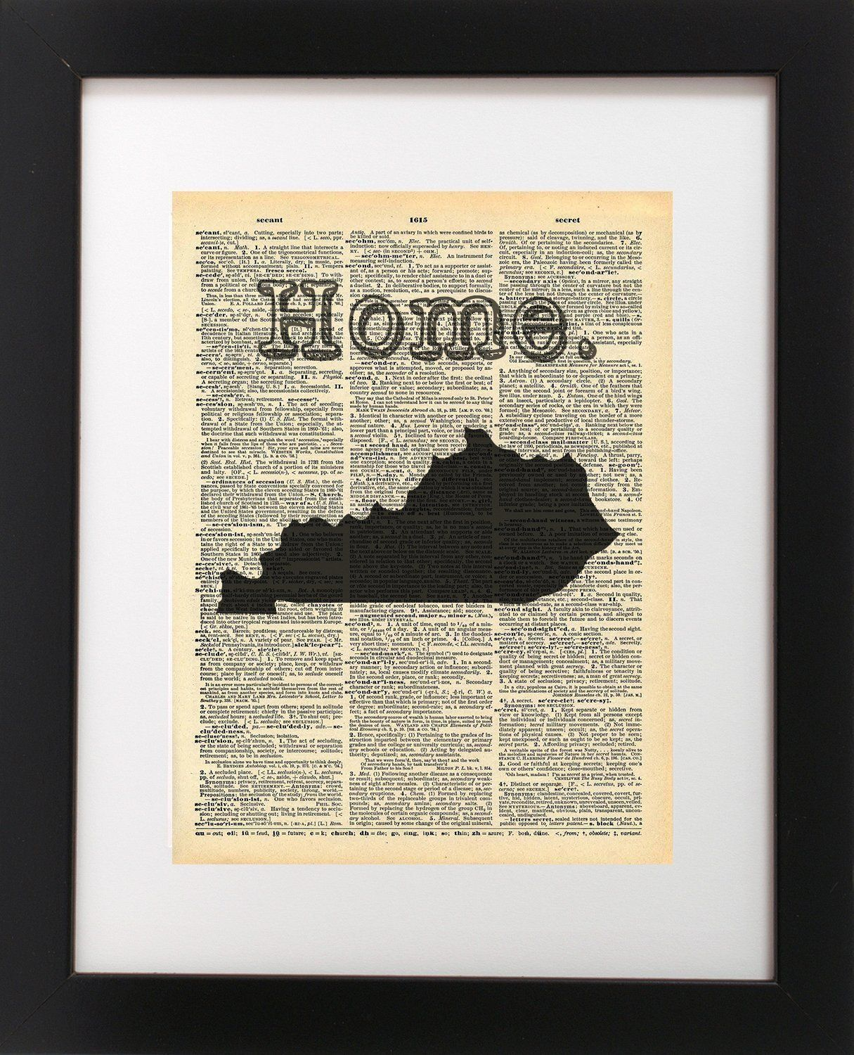 Kentucky state vintage map dictionary art print x inch home