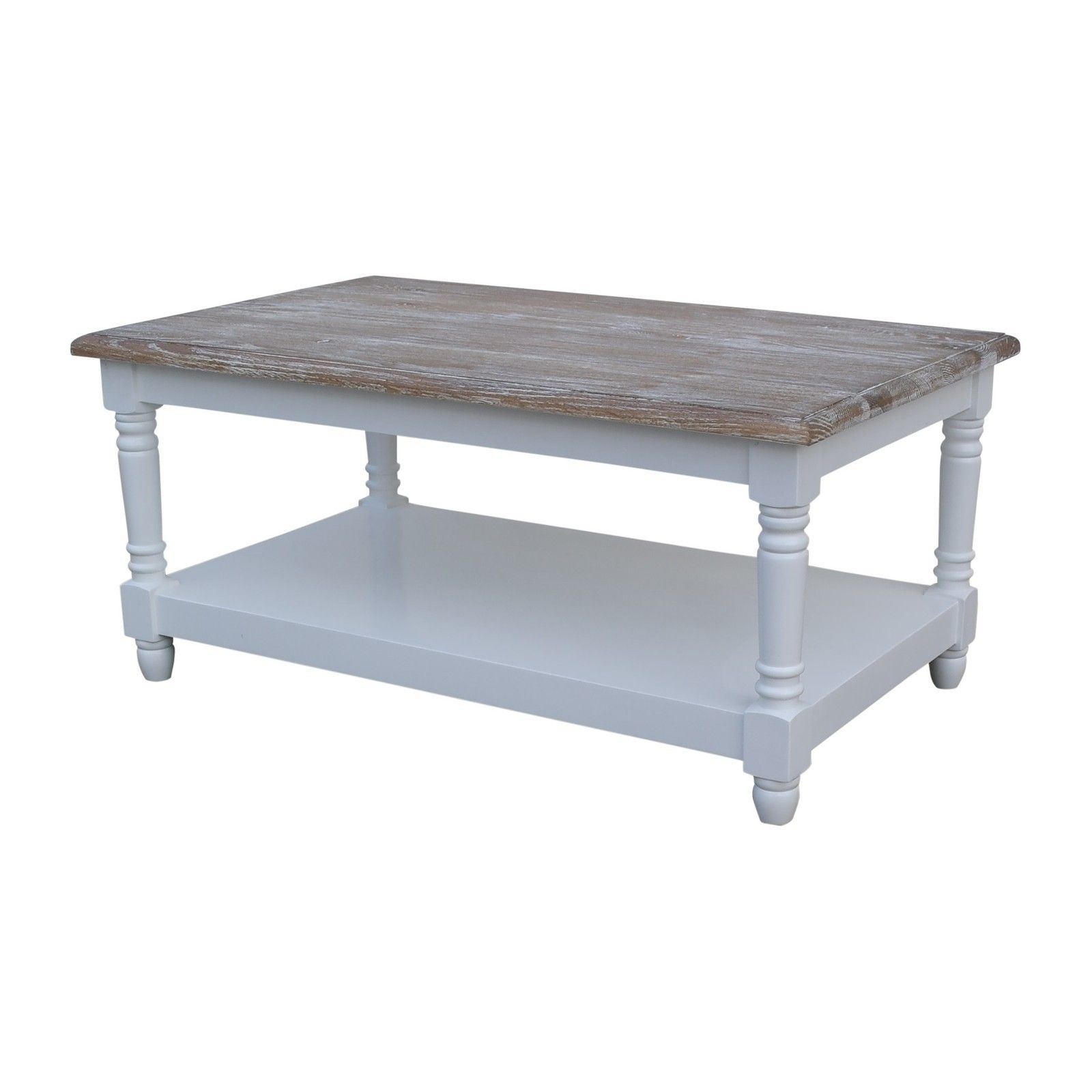 French Chateau White Rectangular Oak Coffee Table with Washed Wood