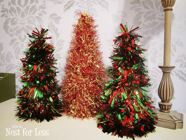 Gold Tinsel Christmas Wreath Cones How To Nest For Less Christmas Cones Christmas Tree Crafts Christmas