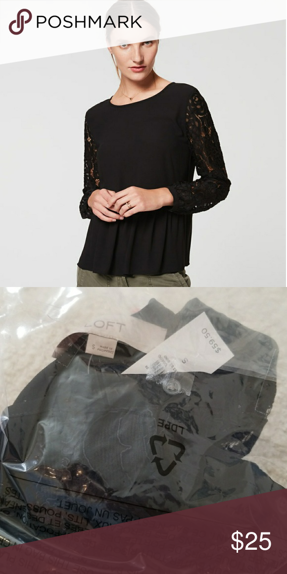 ca6962e9 Lace sleeve blouse Beautiful lace sleeve peplum blouse from Ann Taylor Loft.  NWT and never