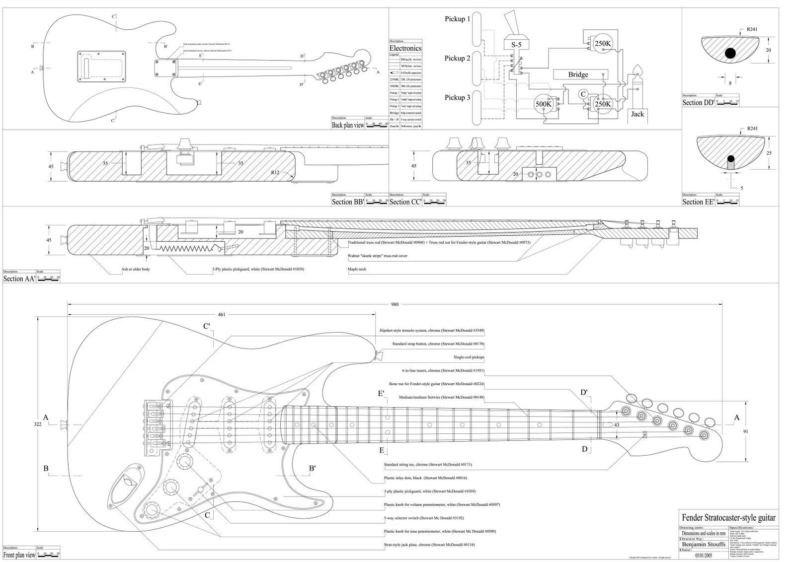 Stratocaster blueprint guitar plans pinterest for Blueprint sizes