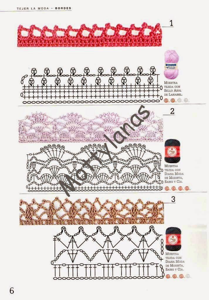 Revistas de crochet y tejidos gratis: Tejer la moda - Bordes en ...