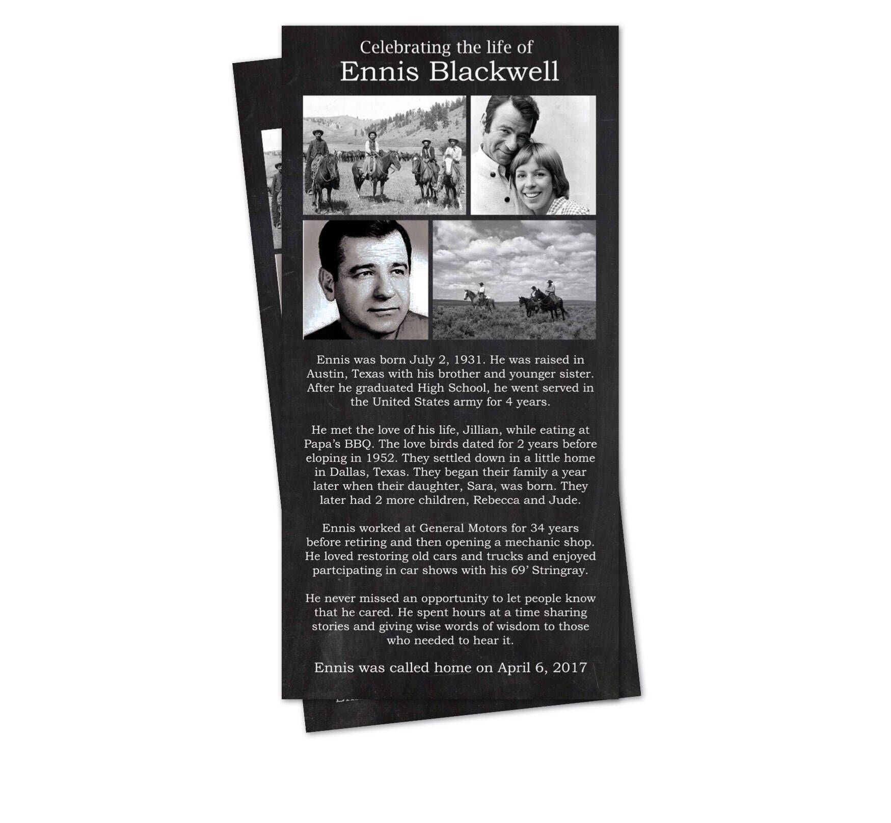 Black and White Funeral Program: Memorial Service Card   Loss ...