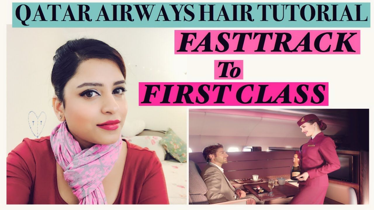 qatar airways cabin crew hairstyle tutorial, flight