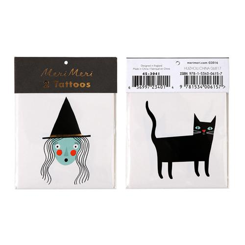 Witch & Cat Temporary Tattoos