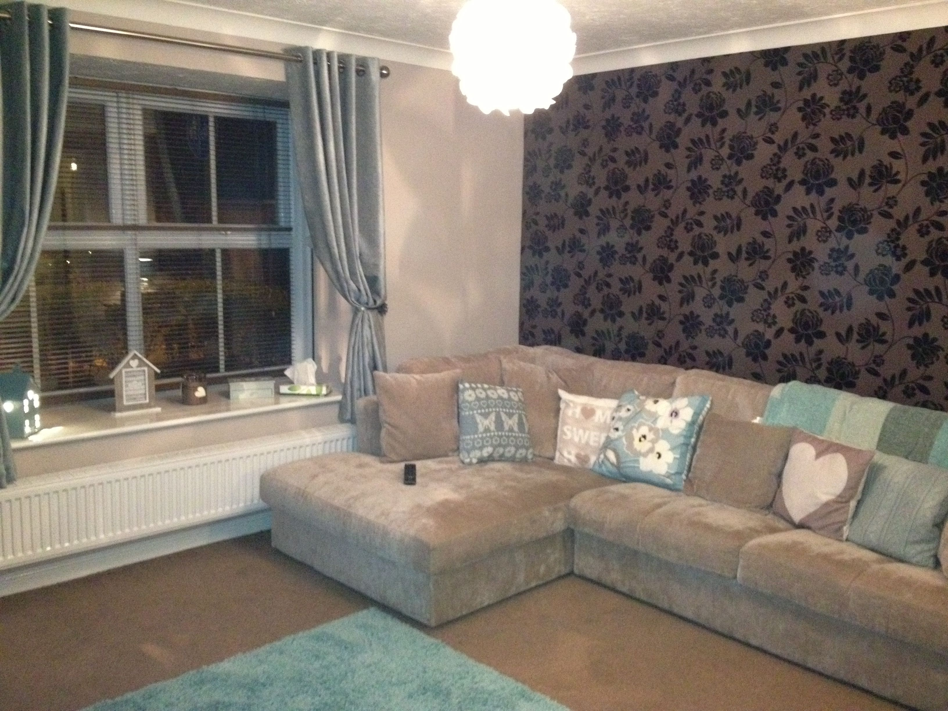 my new duck egg blue & brown living room-love it! | flat