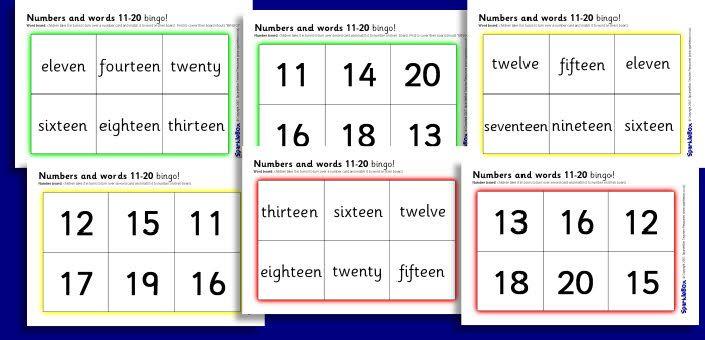 number words 11-20 bingo games | Math | Pinterest | Bingo, Game ...