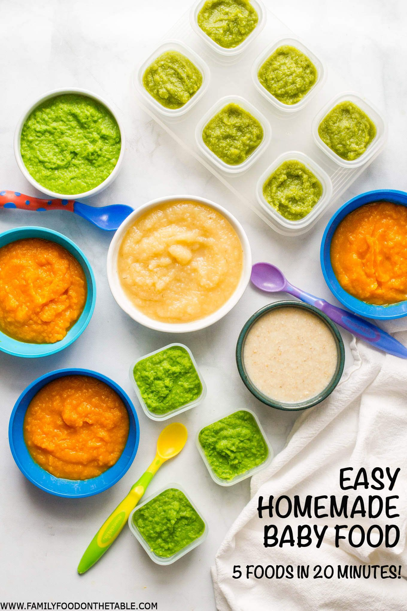 Homemade baby food: Peas, green beans, applesauce ...