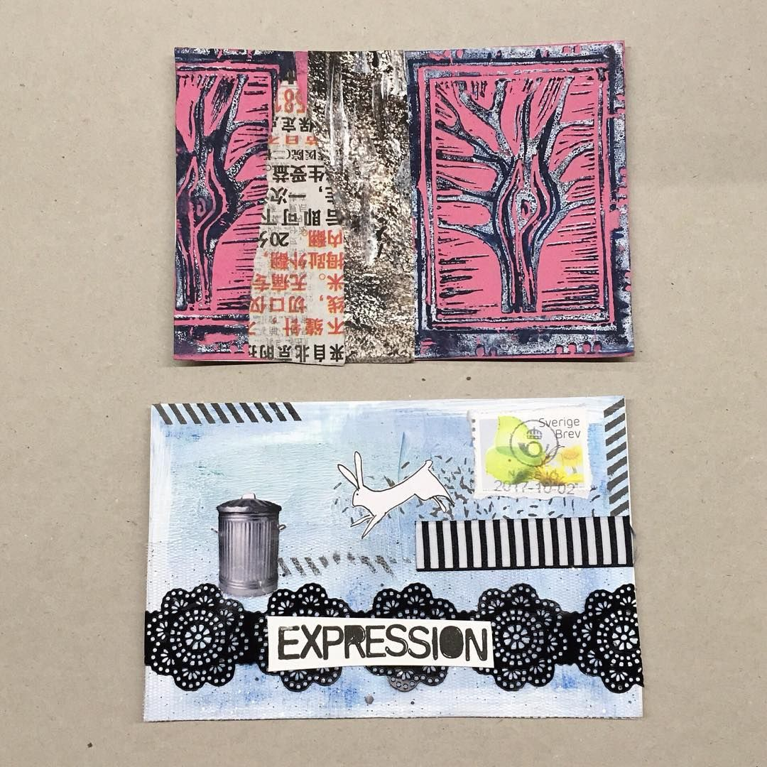 """Posted by Jen (@by.smilinthyme) """"[Happy Mail] I love when my mail box surprises me! These are the first cards I received in iHanna's #diypostcardswap 2017"""" #mailart"""