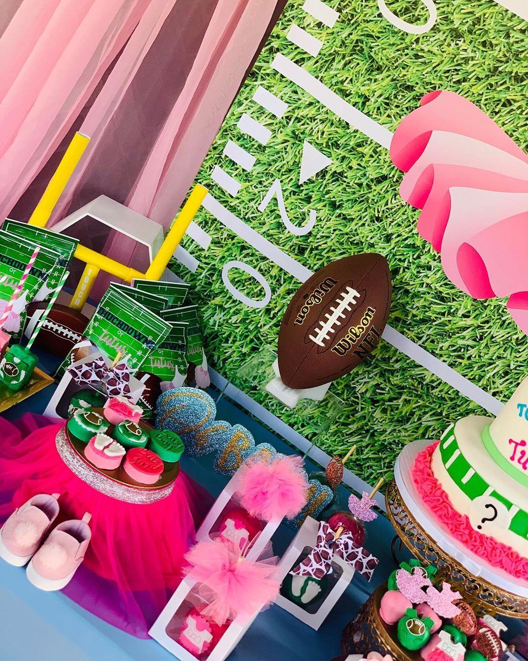 K K Sweetevents On Instagram Touchdowns Or Tutus Gender Reveal Treat Table Tutus Gender Reveal Gender Reveal Decorations Gender Reveal Invitations